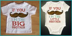 Funny 2 pack Mustache Shirt & Onesie - If You Must Ask Big Brother Little Brother - Funny Saying Mustache Youth Tee - Children's Clothing. $28.00, via Etsy.