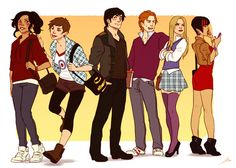 Teen Wolf genderswap characters, inly for fun :D      From left to right: Scarlett McCall, Stella Stilinski, Alistair Argent, Lincoln Martin, Jacqueline Whitemore and Danielle Mahealani.      It was a fun test for a group position and fro drawing different clothes.      You can see Derek Genderswap here