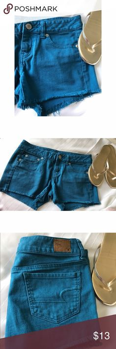 CCO SAmerican Eagle Outfitters Size 4 Short Shorts Size 4. 98% cotton, 2% spandex. American Eagle Outfitters Shorts