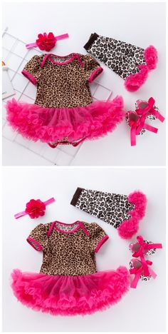 Leopard Short Sleeves Romper Skirt and Headband Shoes 4 Pcs Set in Pink Toddler Boy Gifts, Toddler Boys, Baby Hair Bands, Mommys Girl, Leopard Shorts, Romper With Skirt, Cute Toddlers, Home Outfit, Baby Shop