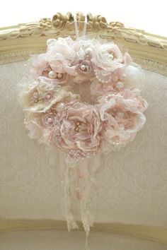 RESERVED for KRISTEN! Beautiful Handmade Fabric Lace Dusty Rose Flower Wreath by…