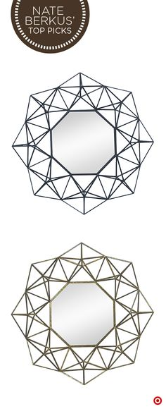 Add a little glitz to your walls with the Nate Berkus Geo Mirror. The intricate, geometric design and luxe gold hue will give walls a rich, high-end look. Even better, pair these mirrors to make a true style statement.