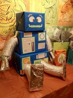 We had a welcome brunch for my friend's baby boy. I made a robot diaper and wipe bot using DG wrapping paper, printables, and dryer vent. Fa...
