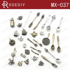 (28547)Total 32PCS Random Mixed style Zinc Alloy Tableware Pendants Fork knife spoon Charms Diy Jewelry Findings Accessories