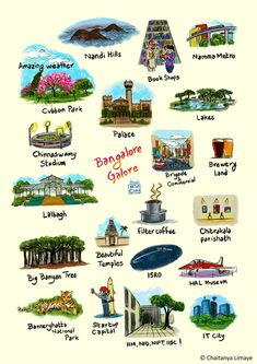 Bangalore Galore Art Print by Chaitanya Limaye - X-Small Travel Destinations In India, India Travel Guide, Travel Tours, Asia Travel, Travel Abroad, Indian Illustration, City Illustration, Tourist Places, Places To Travel