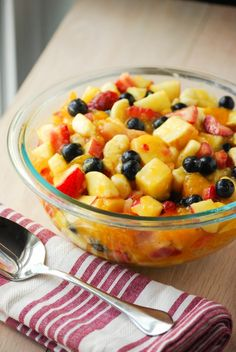 Glazed Summer Fruit Salad (w/ a secret ingredient!)...you can use all kinds of fruits.  My grandma always made it with bananas,  strawberries, canned peaches, and green and red grapes.  We also use lemon pudding vs vanilla to add some tang.