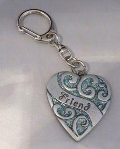 FRIEND Heart Key Chain NEW Glittery Blue Silver Tone  #Camco