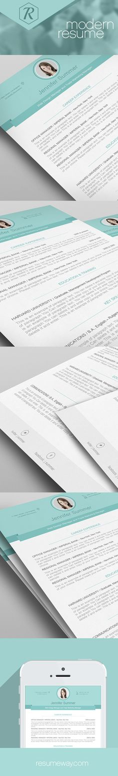 Creative Resume Template, Modern CV Template, Word, Cover Letter - templates for resumes microsoft word