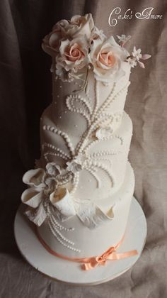 wedding cake with pearls and roses - by Cakesamore2 @ CakesDecor.com - cake decorating website