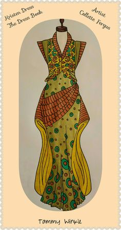 Kristen Dress  The Dress Book  www.esty.com/shop/ColletteByCollette Free Coloring, Colouring, Adult Coloring, Coloring Books, Vintage Clothing, Vintage Outfits, Esty, Clothes, Shopping