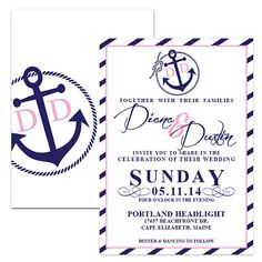 Anchor Nautical Striped Monogram Wedding by DfinitiveDesign, $22.00