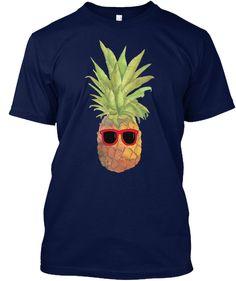 Cool Pineapple Summer T Shirt Navy T-Shirt Front