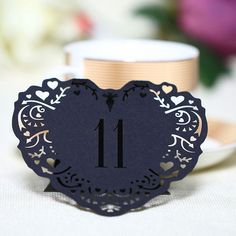 Table Numbers for Wedding Party Decorations [Romantic Rustic Theme /Vintage /Baroque] (11 to 20 Table Cards) 10pcs/set [Black]