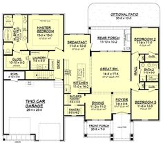 Craftsman Style House Plan - 3 Beds 2 Baths 2073 Sq/Ft Plan #430-157 Floor Plan - Main Floor Plan - Houseplans.com