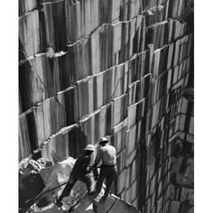 High angle view of two men working on a granite quarry Canvas Art - (18 x 24)