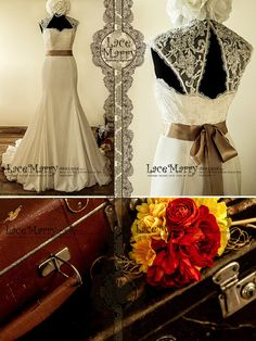 Fascinating Vintage Style Wedding Dress with Beaded by LaceMarry, (love the entire style, just with less of a train)