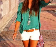 Green Blouse + White Denim Shorts + Brown Belt + Long Necklace