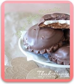 Gluten Free Mint Slice Biscuits! Crispy biscuits topped with smooth peppermint topping and covered in molten chocolate.. oh my word! Dairy-free option #glutenfree #chocolate #celiac #coeliac #dairyfree