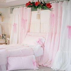 Quality pink/white princess lace curtain for living room window curtains wedding decoration sweet bow volie cortinas customized
