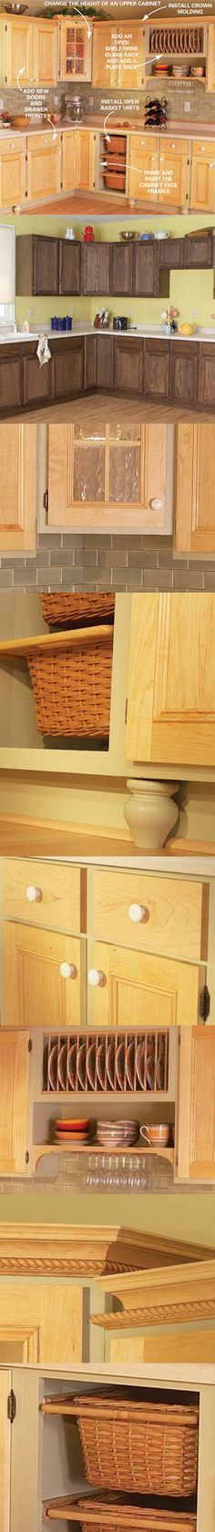 Remodel your kitchen at a bargain cost with these cabinet upgrades, including new doors and drawer fronts, open shelving, improved storage and painted frames. Find six project ideas to make over your kitchen cabinets at http://www.familyhandyman.com/DIY-Projects/Indoor-Projects/Kitchens/Kitchen-Remodeling/cabinet-facelift/View-All