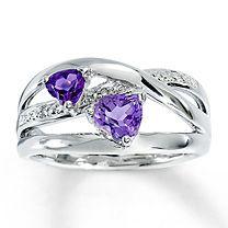 Sterling Silver Diamond & Amethyst Heart Ring