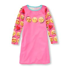 Girls Long Sleeve  Good Morning Good Night  Emoji Graphic Neon Nightgown  Girl Emoji bbd36b210