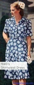 1940's blue shirtwaist dress (1944) #vintage #dress #1940s