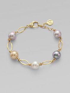 Majorica 10MM+&+12MM+Round+White,+Champagne,+Grey+&+Black+Pearl+&+Link+Bracelet