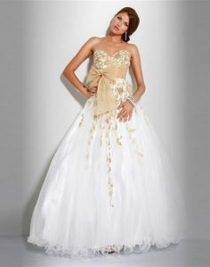 (NO.037531 )2011 Style A-line Sweetheart  Embroidery  Sleeveless Floor-length Organza White Prom Dress / Evening Dress