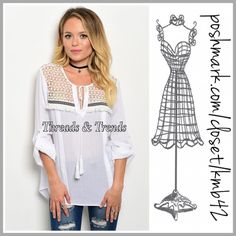 Woven Boho Blouses 2 colors Light weight semi sheer woven blouse with tie-able closure, tassel detail and sheer yoke with embroidered accents. Made of rayon. Colors khaki & white. Size S, M, L Threads & Trends Tops Blouses