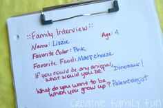 Creative Family Fun Nights: Family Interviews ~ Creative Family Fun