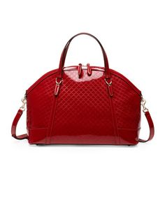 Gucci Nice Large Microguccissima Patent Leather Top Handle Bag, Red by Gucci at Neiman Marcus.