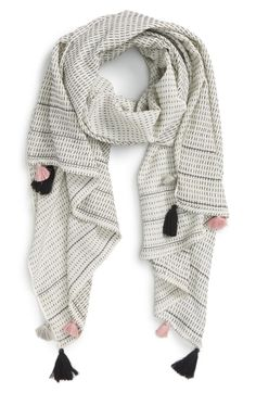 Shiraleah 'Zoe' Tassel Cotton Scarf available at Pompom Scarf, Diy Scarf, Fashion Bazaar, Hijab Fashionista, Woven Scarves, Designer Scarves, Cotton Scarf, Scarf Styles, Nordstrom
