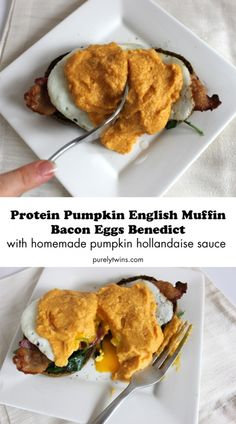 the BEST dairy-free and gluten-free homemade pumpkin protein bacon eggs benedict with pumpkin hollandaise sauce recipe from pureytwins.com