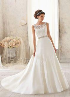 Wedding Dresses - $193.52 - A-Line/Princess Scoop Neck Court Train Satin Wedding Dress With Beading Appliques Lace (0025093154)