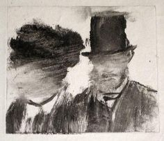 Edgar Degas, Heads of a Man and a Woman, circa 1877-78, monotype