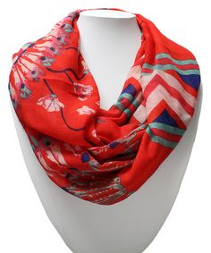 Love this Coral Feather Infinity Scarf on #zulily! #zulilyfinds