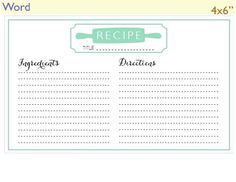 Free Recipe Card Templates For Word Simple 300 Free Printable Recipe Cards  Crafts  Pinterest  Recipe Cards .