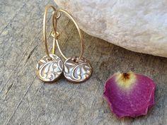 Such amazing handmade floral gold hoop earrings bronze earrings by TinaStJohnJewelry