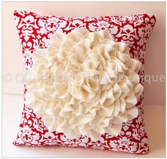 Glorious white felted floral pillow by VeraMiasMama