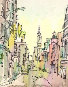 Sketch Away Etsy Shop: Travel Art, New York Watercolor, Chrysler Building, urban sketch in pastels, pink, green and yellow - 8x10 print