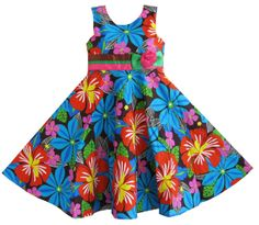 Click to view larger image and other views    Have one to sell? Sell it yourself Girls Dress Flower Print Beach Sundress Boutique Children Clothes
