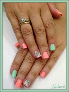 Summer nails with dreamcatcher nail art