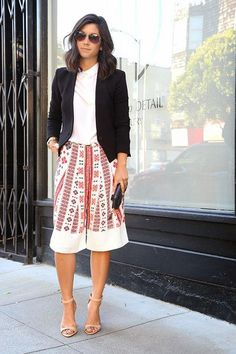 This Time Tomorrow in printed culottes and a blazer