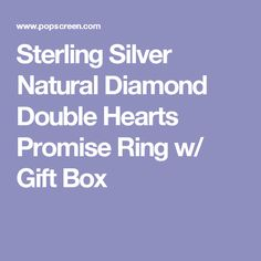 Sterling Silver Natural Diamond Double Hearts Promise Ring w/ Gift Box