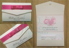 Fuchsia ribbon pocket fold invitation  www.jenshandcraftedstationery.co.uk  www.facebook.com/jenshandcraftedstationery Hand Made Wedding stationery: Save the date, Wedding invitations, Table Plans, Place Settings, Guest Books, Post Boxes, Menus, Table Numbers/Names