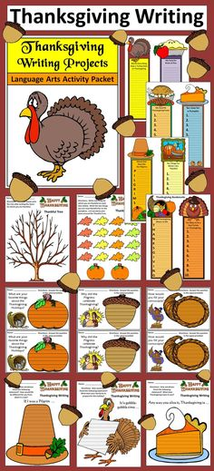 Thanksgiving Writing Projects: This colorful Thanksgiving packet contains many small writing activities all centered around the holiday theme. Packet includes both color and B/W versions of all pages.  Contents include: * Eight Thanksgiving Bookmarks Writing Activities * Three 1/2 Sheet Paragraph Thanksgiving Writing Prompts * Three Full Sheet Thanksgiving Writing Prompts * One Thanksgiving Thankful Tree Brainstorming Activity