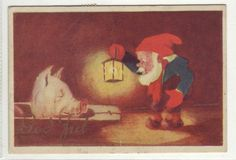 God Jul- (nisse og grisehode) pent brukt 1941. Norsk arbeide