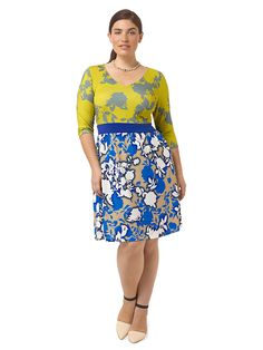Mixed Floral Print Chelsea Dress by Triste, Available in sizes 0X-5X