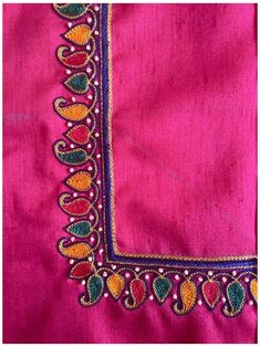Aari Embroidery, Embroidery Neck Designs, Hand Work Embroidery, Simple Embroidery, Indian Embroidery, Embroidery Blouses, Machine Embroidery, Hand Work Blouse Design, Simple Blouse Designs